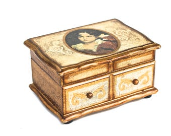 Antique Portrait Hand Painted Italian Style Florence Florentine Jewelry Music wood Box, Vintage Wood Jewelry Box, Vanity Dresser Box