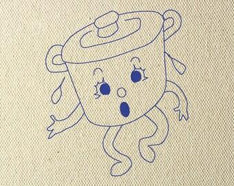 Vintage Machine Embroidery Design Retro Hot Pot Face 4x4 Tea Towel Kitchen Bluework Redwork