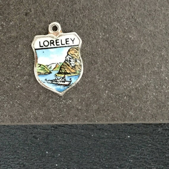 Silver Bracelet Charm Enamel Loreley Shield