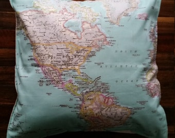 World Map, colourful cushion cover