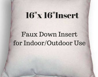 "Pillow Form - 16"" x 16"" Pillow Insert - Indoor or Outdoor Use - Faux Down Insert for Your Patio or Home Decor Use"