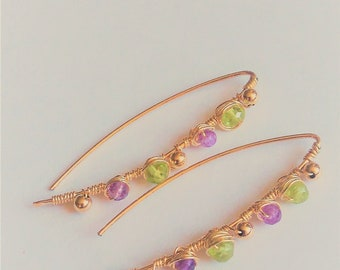 14 ct gold fill hook through ear wires with amethysts and peridots