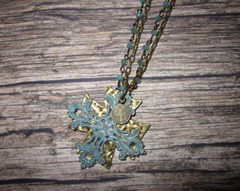 Decorative Patina Crosses on Bronze and Faceted Rondell Chain