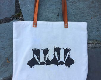 Hand Printed Baby Badgers Tote Bag