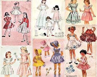 Pattern Girls 01,  Printable Collage Sheet (digital download, printable)