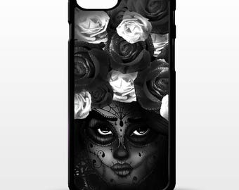 Sugar skull girl rose flower floral face tattoo art graphic cover for iphone 4 4s 5 5s 5c SE 6 6s 7 8 plus X phone case