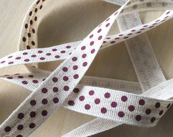 "decorative Ribbon: ""Burgundy dots"" on an ecru mottled background"