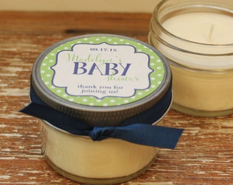 Set of 12 - 4 oz Baby Shower Favor Candles - Polka Dots Tag -ANY COLOR-Boy Baby Shower Favors // Girl Baby Shower Favor // Soy Candle Favors