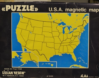 Antique vintage Americana USA America/United States magnetic map puzzle of the states