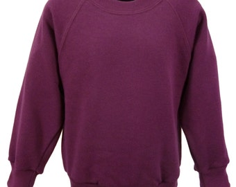 Maroon Sweatshirt, cotton/polyester, raglan sleeves, soft brushed inside for warmth and comfort.   Made in England.  6 childs sizes. W10