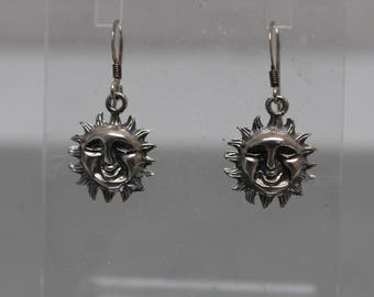 925 - Vintage Sun Salutation Sun with a Face Dangle Earrings in Sterling Silver