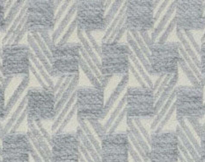 Light Aqua Chenille Geometric Velvet Pillow Cover - Ivory Backing