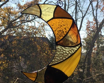 Stained Glass Crescent Moon Sun-Catcher (yellow/orange/brown)