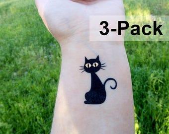 Cat Tattoo, Black Cat Temporary Tattoos, Halloween Tats, Animal Body Stickers, Jewel Flash Tattoos, Kitty Fake Tattoos, Transferable Cats