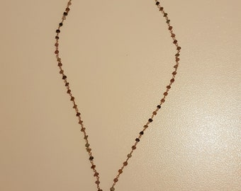 Rosary Necklace in semiprecious stones with four leaf clover pendant