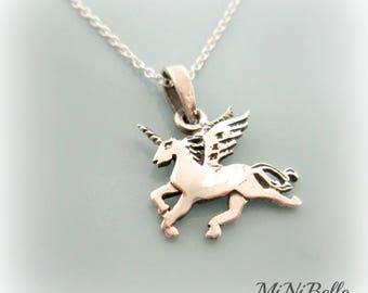 Sterling Silver Unicorn Necklace. Dainty Unicorn Charm Necklace. Unicorn