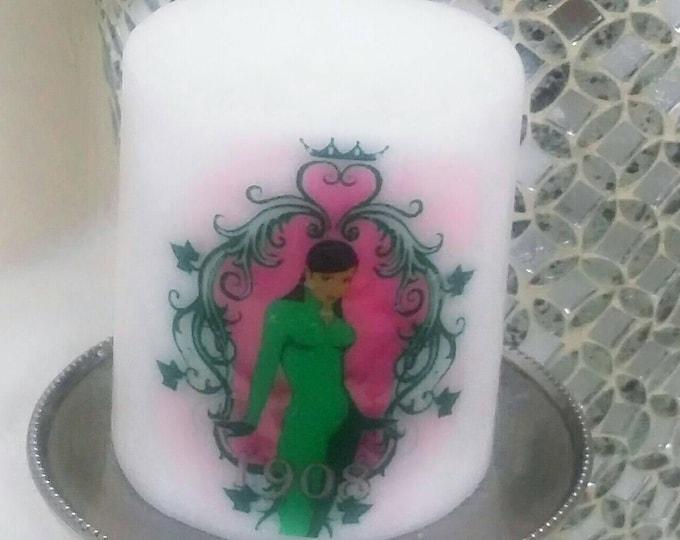 AKA Alpha Kappa Alpha Candle, green and pink lady candle, Greek, sorority candles, line candles, birthday gifts