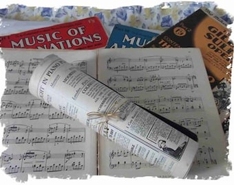 Vintage Music Book - 12 'old' music sheets