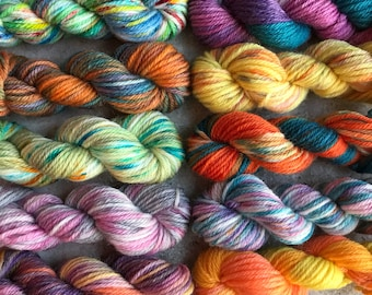 Hand Dyed Sock Yarn Mini Skein Set #165 -- 10 Mini Skeins/25 Yards Each