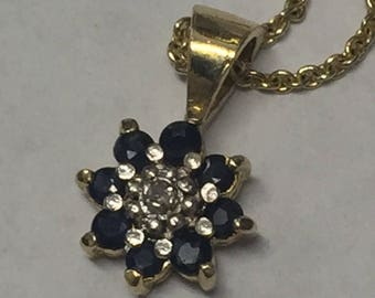 Vintage Sterling Silver Gold Tone Sapphire Diamond Necklace Signed FAS