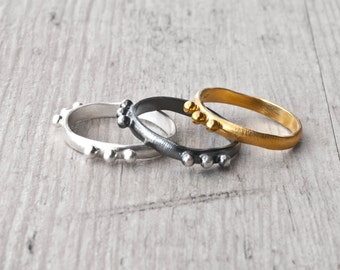 Stackable Ring Set, Sterling Silver Gold Black Oxidized Dainty Rings, Trending Jewelry, Promise Rings, Mix and Match Fashion Jewelry