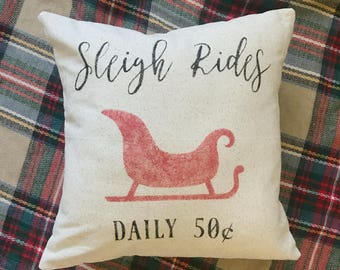 Sleigh Rides Pillow Cover   Christmas Pillow Cover   Farmhouse Pillow Cover   Multiple Sizes Available   Custom Pillow Cover   Made To Order