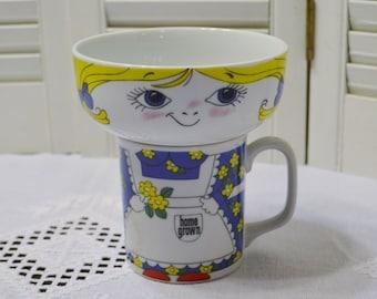 Vintage Leonard Home Grown Bowl and Mug Cup Girl Stackable Serving Set 1979 PanchosPorch