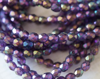 4mm Purple Fire Polished -  Purple Iris Tanzanite Firepolished beads - Czech Glass Beads - Bead Soup Beads