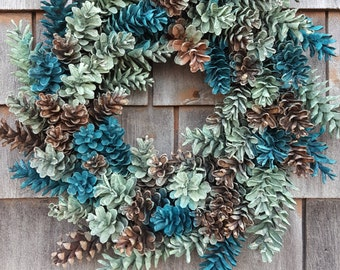 Maine Pinecone Wreath in shades of The Sea