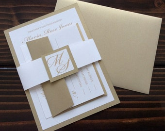 Traditional Elegant Gold and White Wedding Invitation Set