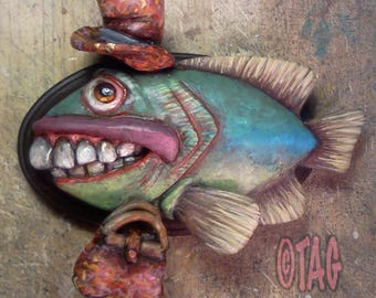 ORIGINAL OOAK Buck-toothed Carpetbagger Fish Plaque by Tom Taggart