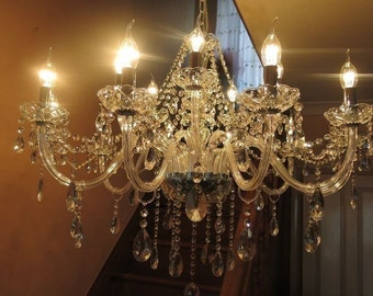 STUNNING ~ Large elegant 15 Arm *DOUBLE Tier* glass & crystal chandelier