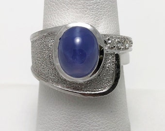 Funky 1960s Created Star Sapphire 10k Gold Ring (1165D)