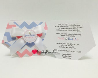 Set of 10 Baby Shower Diaper Invitations Pink and Blue Chevron