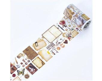 Diary Scrapbook Adhesive Masking Deco Washi Tape - Retro Letter (8 cm Width x 5M)