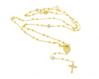 Necklace Rosary Pattern Y with spheres miraculous light points and cross zirconate in sterling silver 925 yellow gold plated length 50 cm