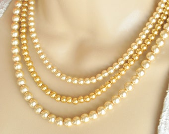 Gold Swarovski Glass Pearl Multistrand Necklace and Earring Set - Bridal