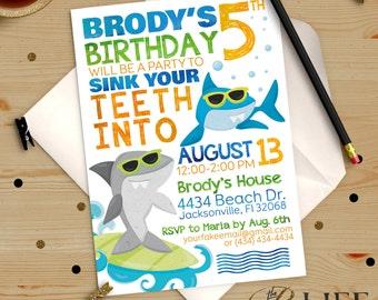 Chomp Chomp Surfing Sharks Pool  Birthday Invitation Printable DIY No. I280
