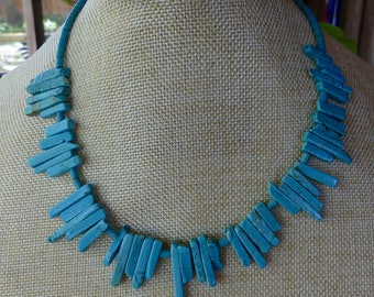 18 Inch Rustic Southwestern Stick Turquoise Necklace with Earrings