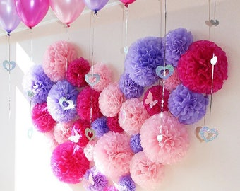 33pcs Lilac Pink Fairy Theme Tissue Paper Pom Poms Girl's Birthday Party Sweets Bar Backdrops Baby Girl Baby Shower Wall Decorations