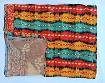 Handmade Kantha Quilt Floral Multi Color Kantha Blanklet Bedspread Bohemian Kantha Reversible Throw Kantha Wall Decor