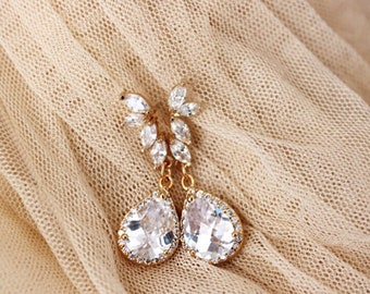 Wedding Jewelry Gold Bridal Earrings Gold Wedding Earrings Crystal Leaf Earrings Drop Earrings Dangle Earrings Gold Bridal Jewelry Fall