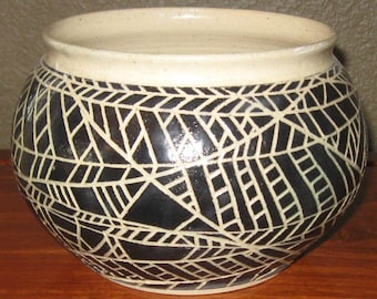Black and Tan Handmade Thinking Pottery Bowl