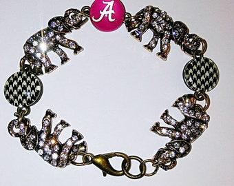 University of Alabama Big Al houndstooth rhinestone bracelet UA Game Day Crimson Tide Jewelry Alabama gifts Roll Tide gift