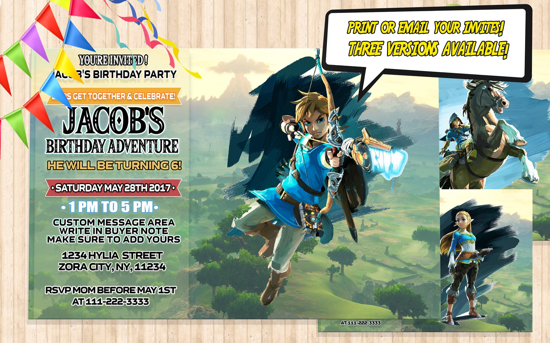 Zelda birthday invitation digital link birthday invitation zoom stopboris Gallery