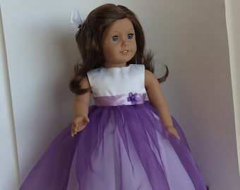 A Party Dress in  Purple and White for an American Girl Doll or other 18 inch Doll