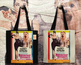 Yorkshire Terrier Art Tote Bag - Breakfast at Tiffany's Movie Poster   Perfect DOG LOVER Gift for Her Gift for Him