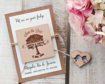Wood Save-the-Date Magnets, Wood Magnet, Wooden Magnet, Tree Save The Date Magnet, Wooden Save The Date Magnets, Rustic Save The Date