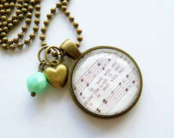 Music Pendant Necklace - It Is Well - Inspirational Jewelry - Music Jewelry - Hymn - You Choose Bead and Charm - Customize