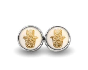 Hamsa Stud Earrings | Hamsa Earrings Hamsa Jewelry Bohemian Jewelry Boho Earrings Hand of Fatima Evil Eye Protection Earrings Gold Hamsa